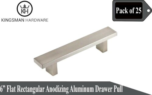 "Flat Rectangular Solid Anodizing Aluminum 6/"" Cabinet Bar Pull Handles Set of 25"