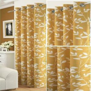 ANTIQUE-OCHRE-GOLD-WHITE-FLORAL-LAUREL-LEAVES-THICK-VOILE-EYELET-CURTAIN-PANEL