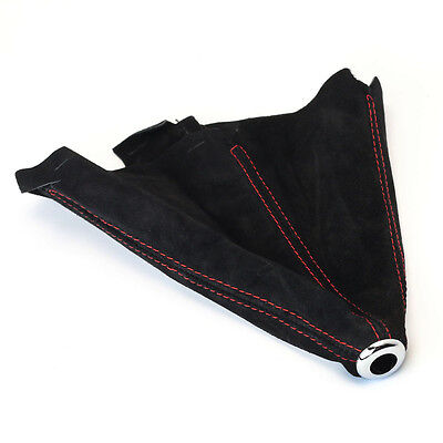 UNIVERSAL MANUAL SHIFT SHIFTER BOOT COVER SUEDE BLACK W/ RED STITCH RD 1