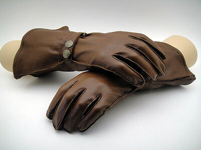 NEW Leather Motoring Driving Pilot THE AVIATOR SUMMER GAUNTLET Gloves Motorcycle