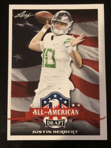 2020 Leaf Draft #62 JUSTIN HERBERT ALL AMERICAN Rookie Card! CHARGERS