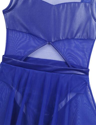 Girls Ballet Dance Dress Shiny Sequin Leotard Gymnastics Skirt Dancewear Costume