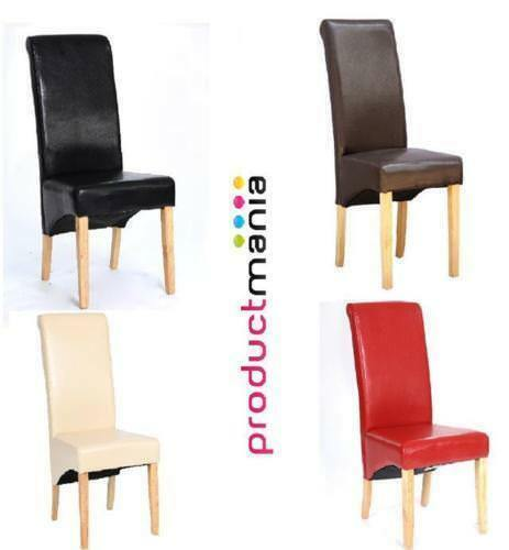 Faux Leather Roll Top Scroll High Back Dining Chairs Wood Legs Furniture Set New Black,Brown,Red,Cream