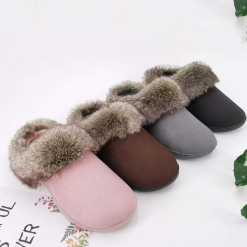 Details about  /ofoot Womens Winter Warm Indoor Outdoor Fur Slippers Moccasins Suede Clogs Cozy