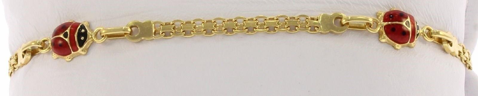 Beautiful Enameled Lady Bug Bracelet in 14 Kt Yellow gold