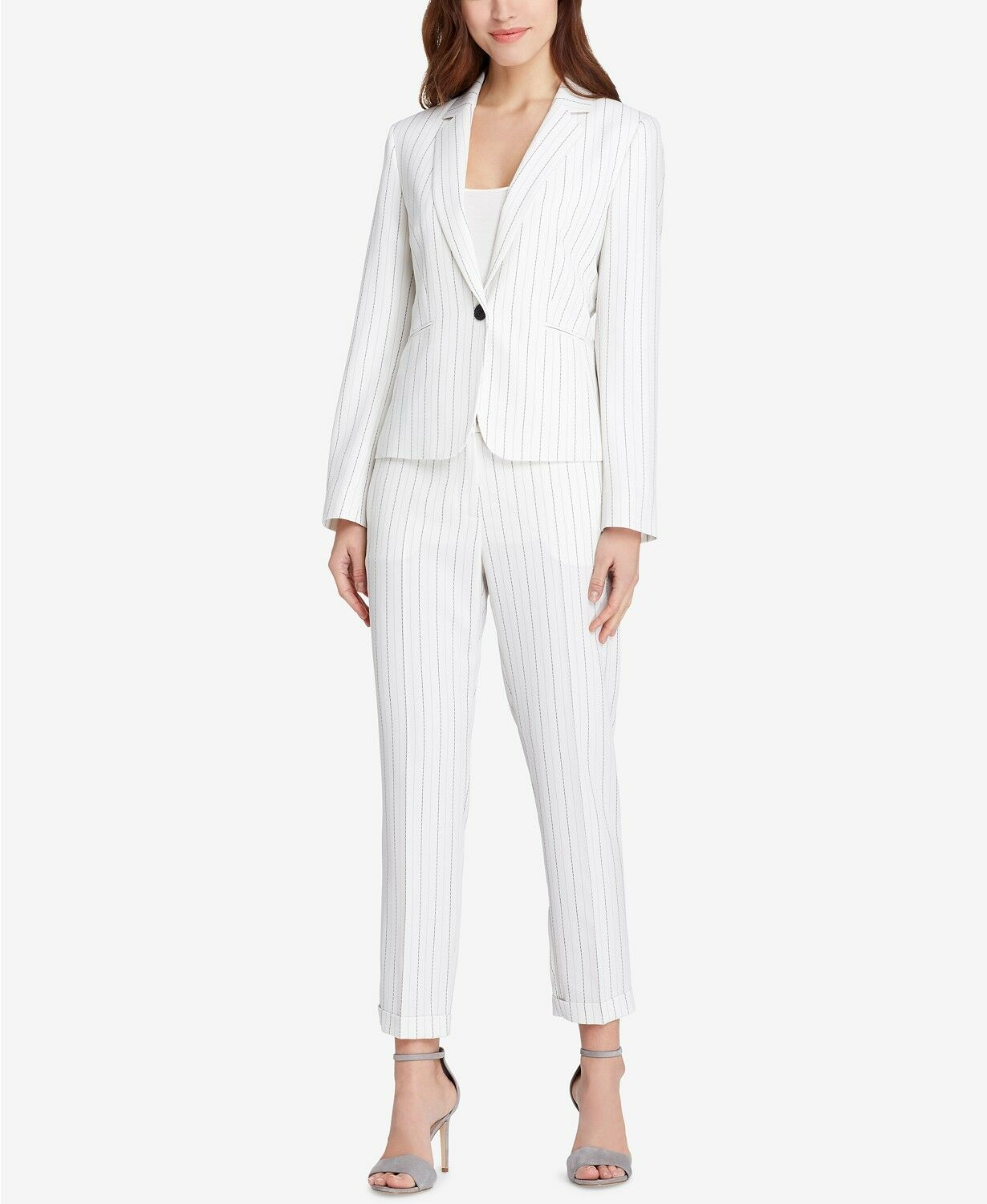 Tahari ASL Pinstriped One-Button Pantsuit Petite Size 4p  F303 MSRP  290.00