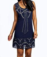 BNWT Gatsby BLUE Dress Tunic Top Evening 1920's Shift Dress Size 8 10 12 14 16