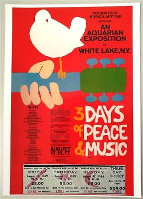 24x36 SHRINK WRAPPED MUSIC FESTIVAL 36600 WOODSTOCK LINEUP POSTER