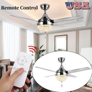 Ceiling-Fan-Light-4-Blades-Crystal-Ceiling-Fan-LED-Light-Remote-Control-44-inch