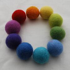 100% Wool Felt Balls - 3cm - 30 Felt Balls - Assorted Rainbow Colours