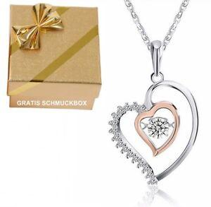 e0d79b092a43 Das Bild wird geladen Herzkette-Anhaenger-Halskette-Echt-925-Silber -Rosegold-Damen-