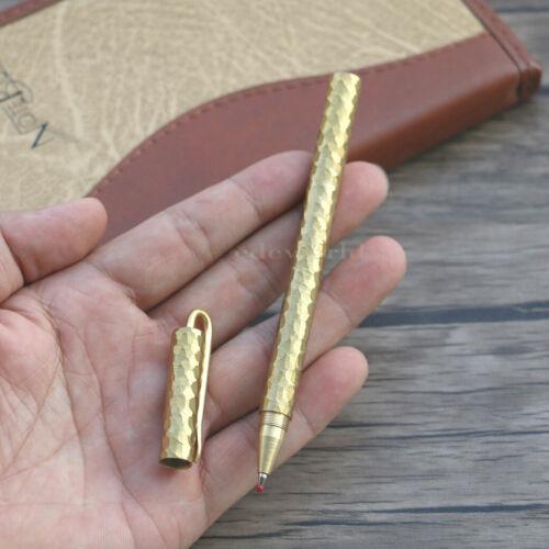 `Handmade Surface Stone Pattern Pocket Brass Pen Signature Pen Best Gift P088