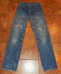 VTG 80s Levi's 501 XX Button Fly Denim Jeans USA Herren Größe 31x36 aktuell (28x31)