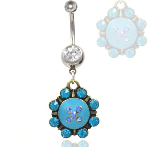 "14g 3//8/"" LIGHT BLUE COLOR SPIKEY PENDANT BELLY RING UNIQUE NAVEL PIERCING"