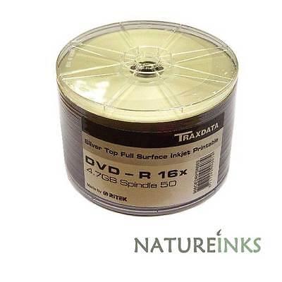 50 x Traxdata Full Face Silver Printable DVD-R 16x Discs 4.7 GB Ritek