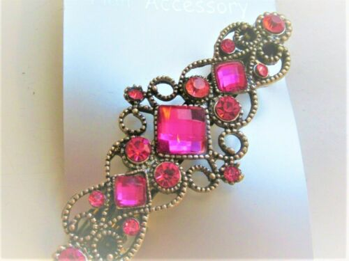 Coloured Stone Hair Pin Women Vintage Hair Clip Barrette Bobby Pin Pink Amber