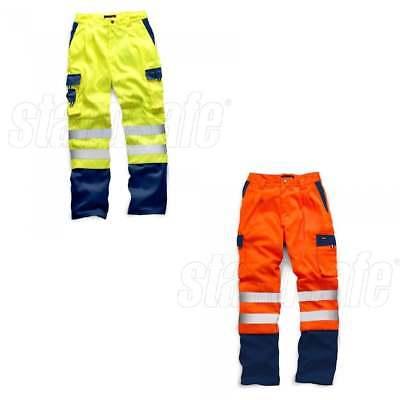 Hi Viz Two Tone Polycotton Cargo Trousers Work Combat Vis Visibility Mens Pants