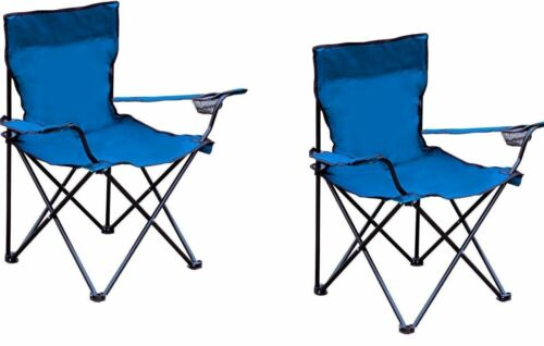 2 X FOLDING OUTDOOR CAMPING CHAIR FISHING FOLDABLE BEACH GARDEN /_Blue
