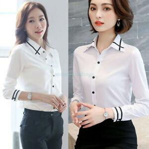 0433486a117 Women Lady Girls Work Office White Shirt OL Loose Long Sleeve Slim ...