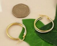 Sassi Ler1525 Ladies 375 9ct Yellow & White Gold Creole Hoop Leverback Earrings