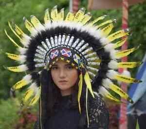 Headband Hat Feather Native American Orange Indian Headdress Handmade Warbonnet