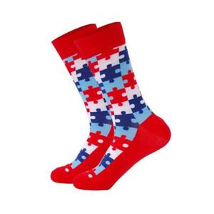 Mens-Crew-Socks-Red-Jigsaw-Sock-Pattern-Funny-Funky-Happy-Bright-Cool