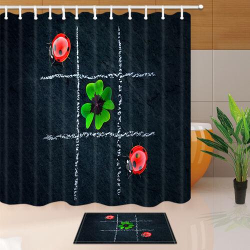 Waterproof Fabric Bath Curtain Ladybug on the Blackboard Decor for Bathroom 71/'/'