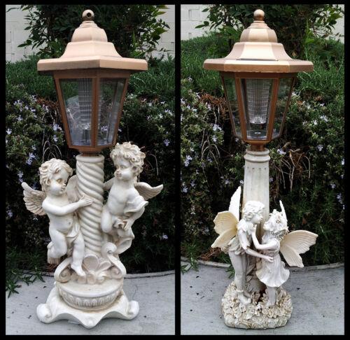 2 Outdoor Garden Decor Solar Fairy Angel//Cherub Statue Sculpture LED Lights
