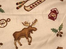 Fabric Bearcreek Moose Canoe Bears on Tan Flannel 1 Yard S