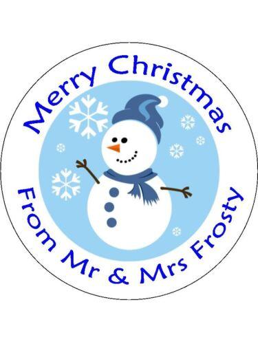 30-90 Pre-Cut Personnalisé Comestible Gaufre Cup Cake Toppers Frosty Le Bonhomme de neige de Noël