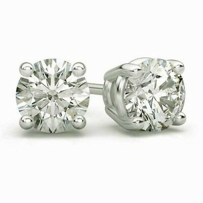 2 Ct Round Brown Earrings Studs Solid 14K White Gold Screw Back Basket