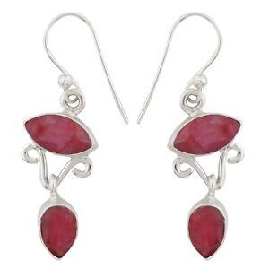 925-Pure-Silver-Dangle-Earrings-Set-Designer-Gemstone-Women-Fashion-Jewelry