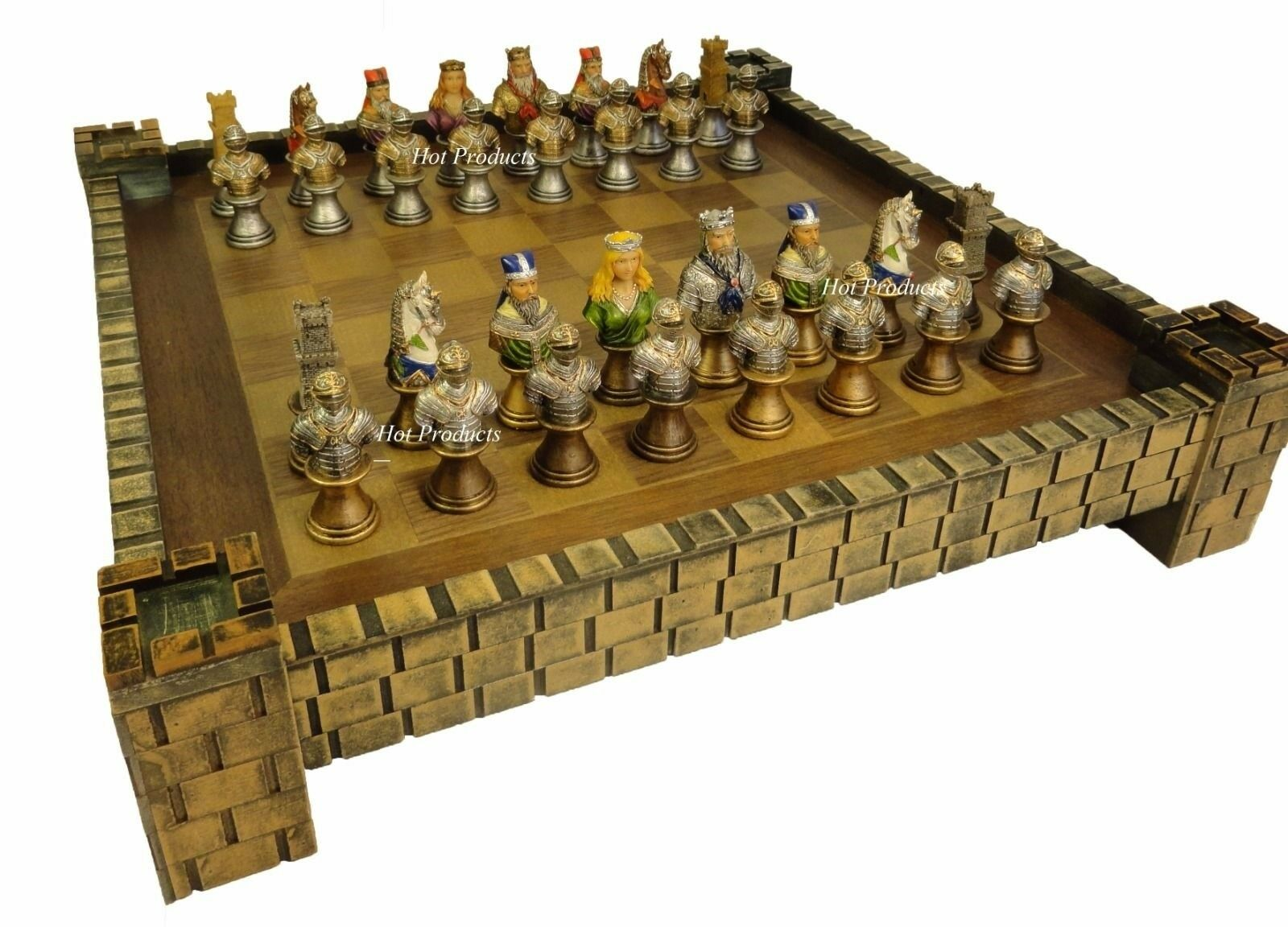 MEDIEVAL TIMES CRUSADES BUSTS Painted Knights CHESS Set W  CASTLE BOARD