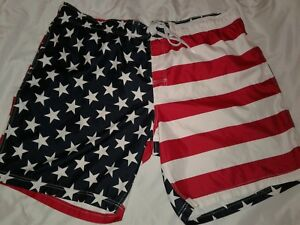 Faded Glory NWT Mens Swim Trunks XL 40-42 Swimsuit American Flag Red White Blue