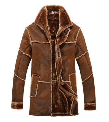 Winter Men/'s Lapel Jacket Fur Leather Warm Lining Long Trench Loose Coat New Hot