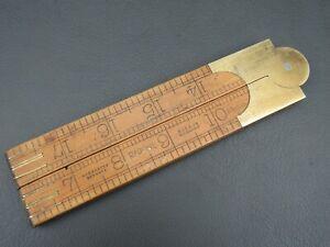 "Vintage boxwood & brass 4 fold 24"" rule ruler No 1380 by Rabone"