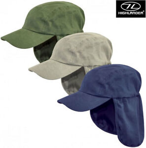 Highlander-Fold-up-Legionnaires-Sun-Neck-Flap-Boonie-Peaked-Summer-Hat-Cap-New