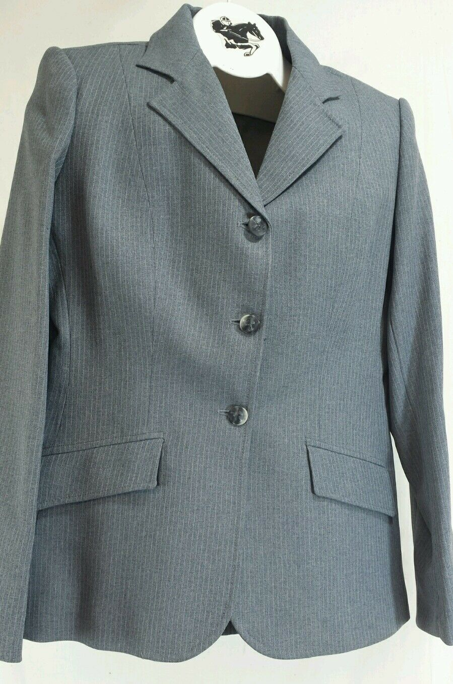 Reed Hill Double Vent Hunt Coat grau Pin Poly Größe 12 - Made in USA