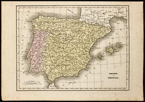 1850ca - Mapa geográfica antigua España y Portugal. Por Monin