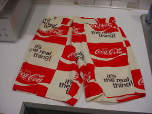 rare-UNUSED-1970-039-s-COCA-COLA-MENS-Button-FLY-SHORTS-w-belt-loops-pockets