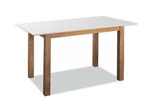 Details zu Küchentisch massiv Weiß matt 130 x 80 Esstisch Skandinavisches  Design Holztisch