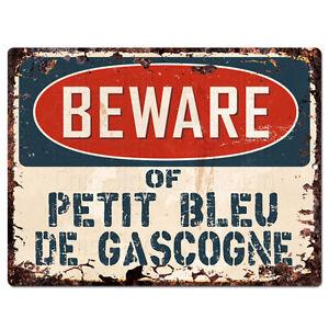 PPDG0186-Beware-of-PETIT-BLEU-DE-GASCOGNE-Plate-Rustic-TIN-Chic-Decor-Sign