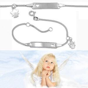 Baby Taufe Echt Silber 925 Schutz Engel Herz Ident Armband mit Gravur Name Datum