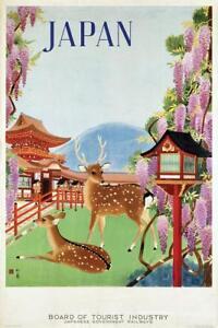 Japan-Nara-Temple-Deer-Vintage-Travel-Art-Print-Mural-Poster-36x54-inch