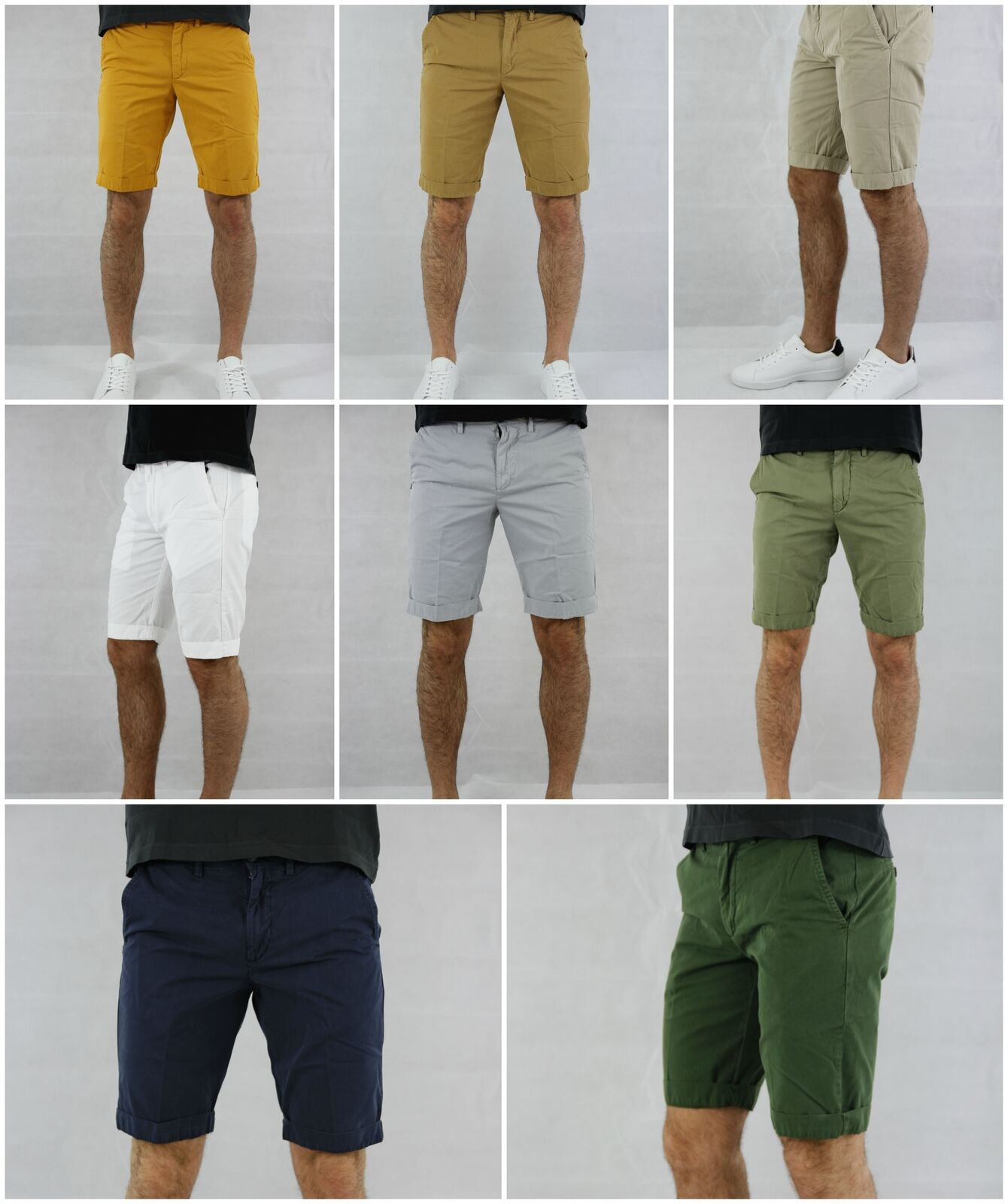 Shorts 40 Weft Sergent BE061 Man Regular Fit Cotton Made in  White Green Ye