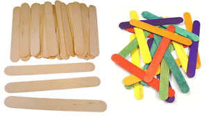100 JUMBO SIZED COLOURED OR PLAIN WOODEN LOLLY POP STICKS CRAFT 150mm x  18mm MB