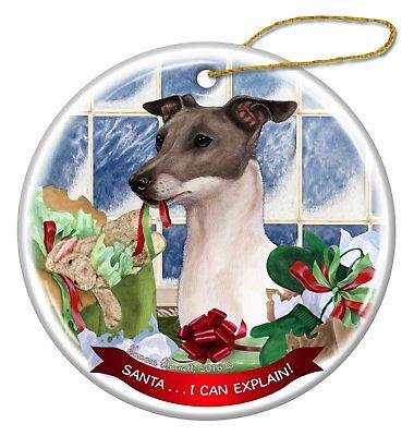 Black and White Portuguese Water Dog Porcelain Ornament /'Santa I Can Explain!/'