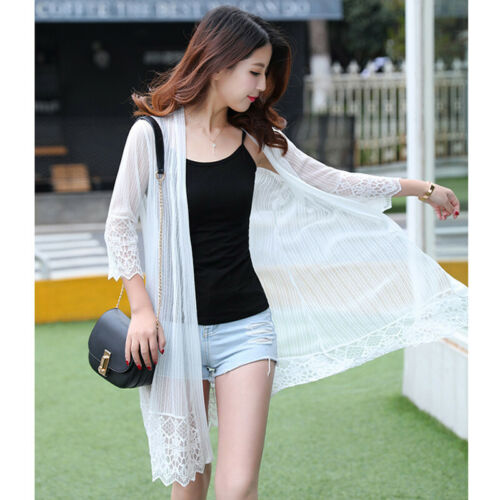New Summer Women/'s Casual Long Sleeve Cardigan Ladies Thin Lace Top Coat Outwear
