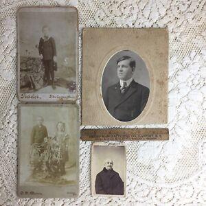 Antique Cabinet Card Photo LOT Little Boy Girl Child Man Victorian Ghosts Haunt