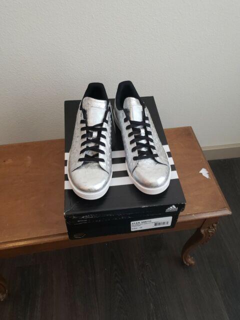 Adidas Originals Stan Smith Mens Shoes Silver Leather Metallic AQ4706 US 12